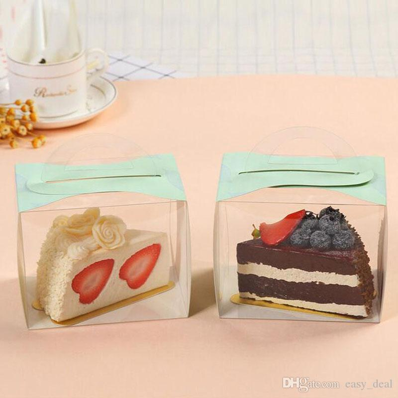 12X8X10CM PVC Cake Box Portable Transparent Window Display Pastry Biscuit Cupcake Boxes Baking Packaging Case ZA5548