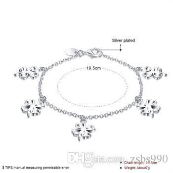 Hoge kwaliteit 925 zilveren vier blad klaver hanger bedelarmband vrouwen gratis verzending 10 stks