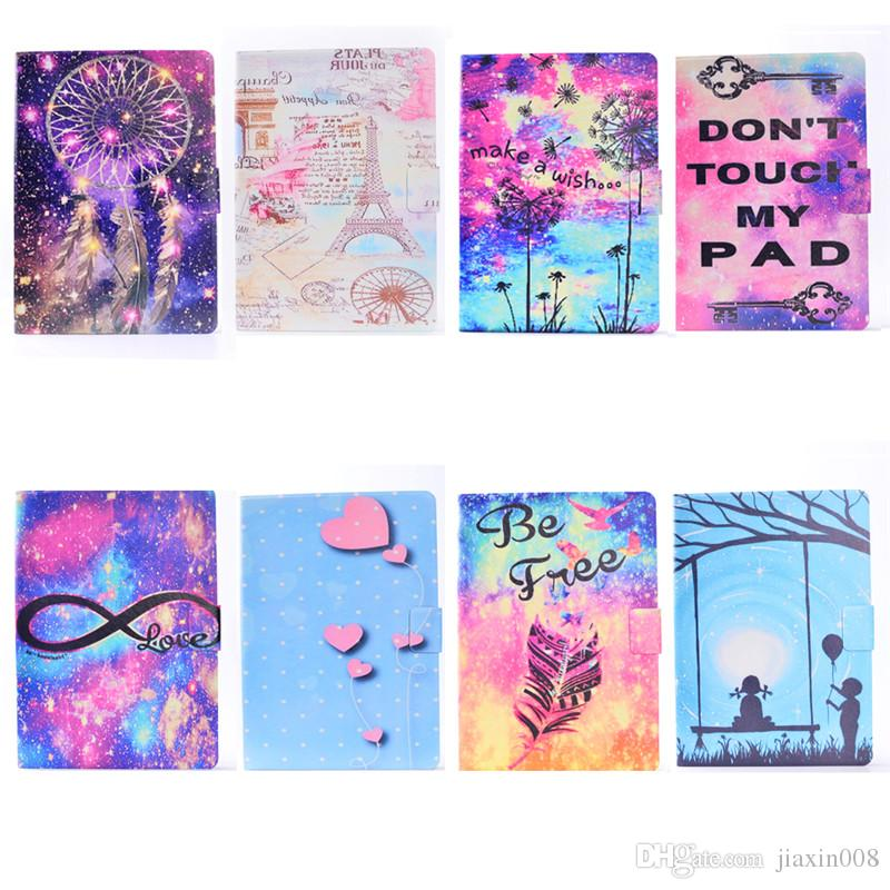 PU Leather Tablet Case For iPad Pro Mini Cover Filp Stand Painting Wind chime Tower balloon Dormancy Sleep Wake Function Desgin