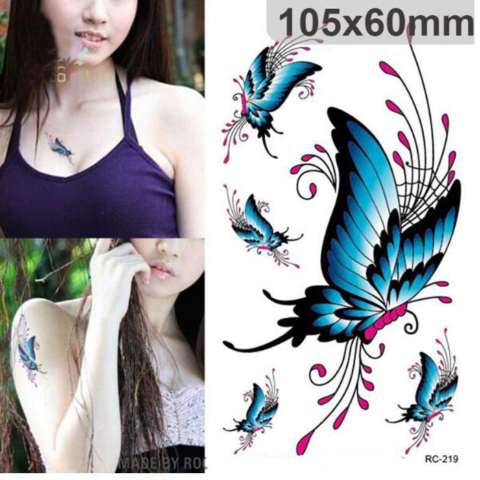 DIY Body Art Temporary Tattoo Stickers Colorful Butterfly Decal ...