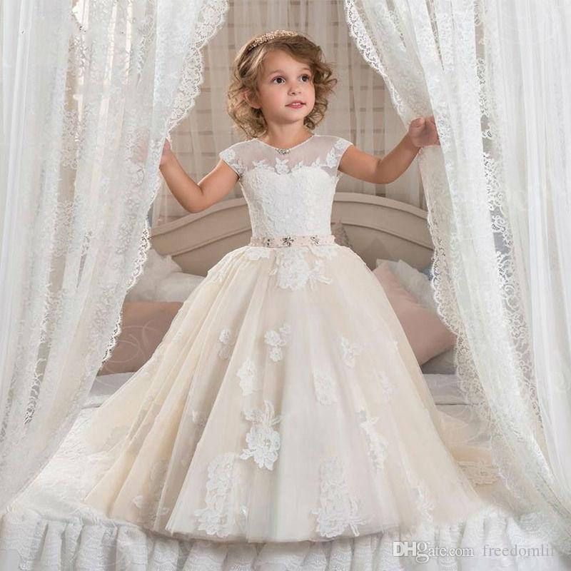 Новое прибытие девушки цветка платья для свадьбы старинные ювелирные изделия створки кружева девушки День Рождения платье Первое причастие платья длина пола