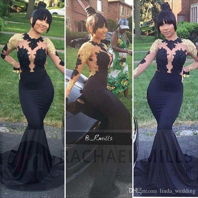 Vestido de noite preto vestidos de mangas compridas apliques de renda do Vintage Plus Size formal Vestidos de baile Custom Made
