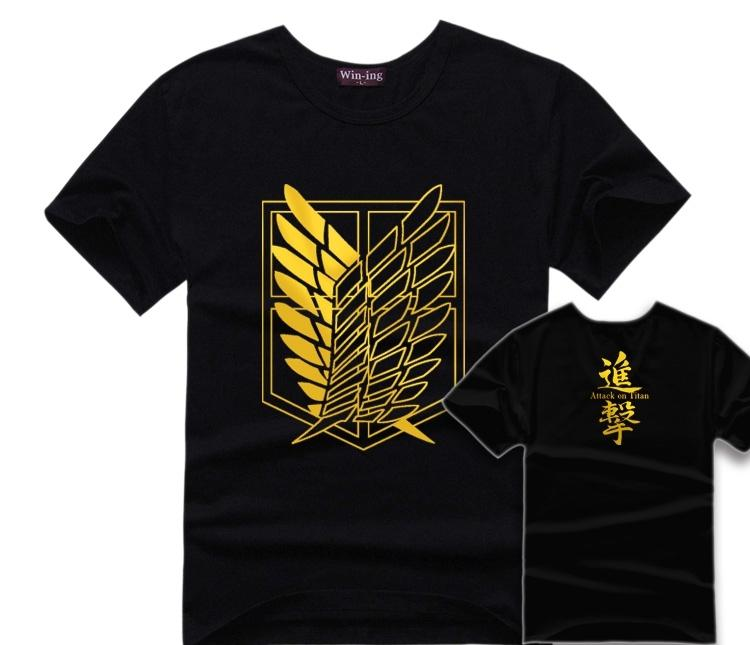 5acd0df70 2016 New Summer Attack On Titan T Shirts Men/Women Golden Printed Lovers T  Shirts Short Sleeve Cotton Anime Cartoon Clothing UK 2019 From Liqyi0304,  ...