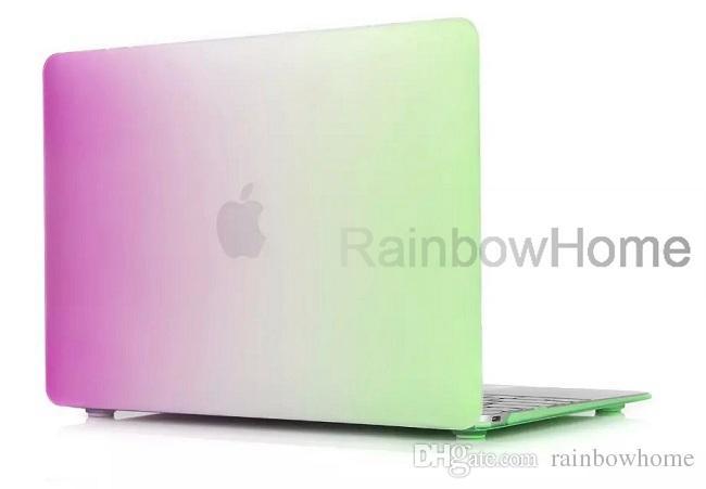 Blende Farbe Matte harte gummierte Hülle Abdeckung Protector für Macbook Air Pro mit Retina 12 13 15 Zoll Laptop Kristall Bunte Regenbogenschale