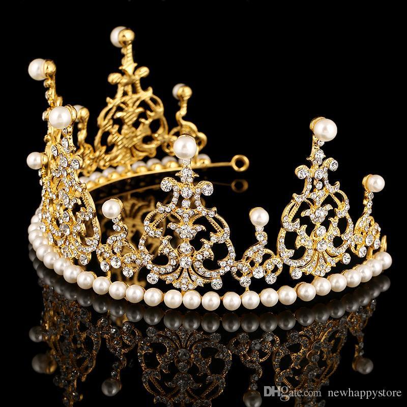 Hochwertige Perlenkristalle Hochzeit Kronen Braut Tiara Krone Stirnband Haarschmuck Fashion Party Hochzeit Tiara