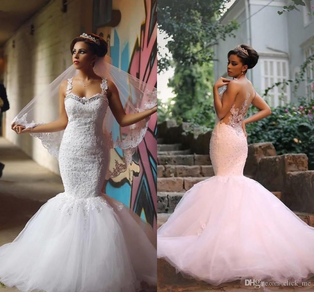 de96723e7cf Gorgeous Mermaid Wedding Dresses With Sweetheart Beads Lace Appliques Sheer  Back Sexy Bridal Dress Tulle Layered Personalized Wedding Gowns Beautiful  ...