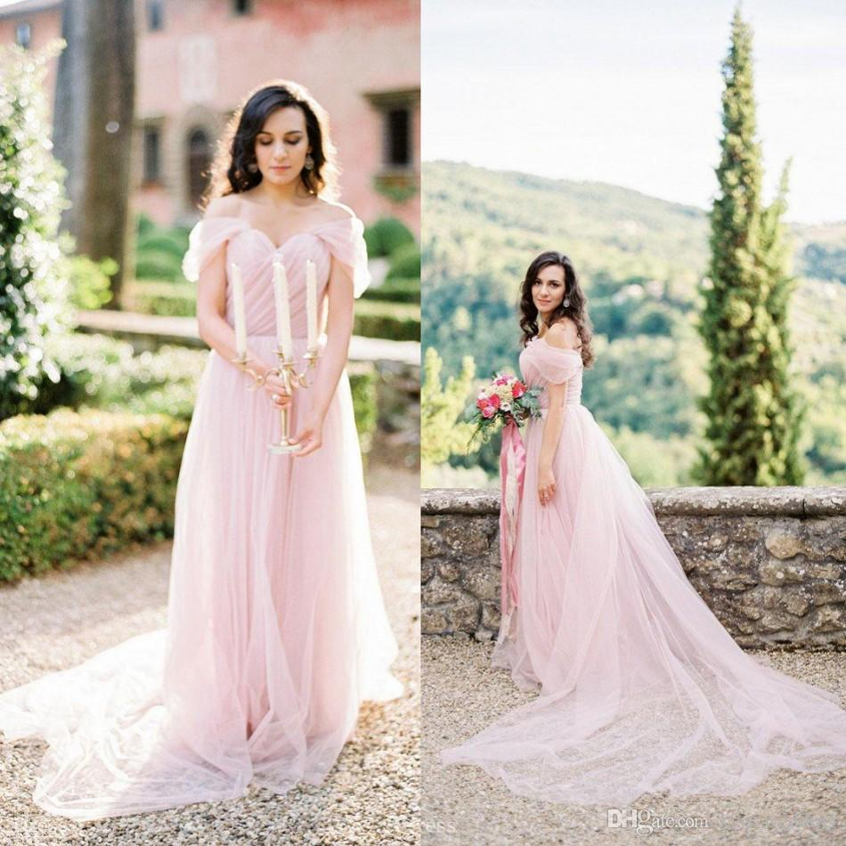 Light Pink Wedding Gown: Discount Elegant Light Pink Wedding Dress Sweetheart