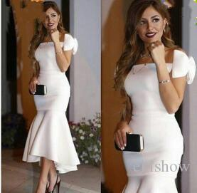 Hot Elegant High Low Off the Shoulder Mermaid White Prom Dresses 2017 with Bow Short Evening Party Formal Dress Plus Size Lady Evening Wear