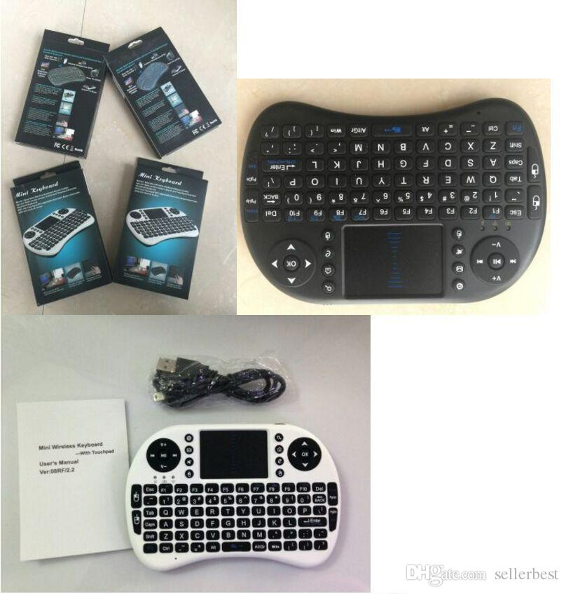 Universal MINI I8 Fly Mouse Touch Pad QWERTY Mini teclado inalámbrico 2.4G con Touchpad Teclado de mano USB para PC Android TV Ratones FlyMouse