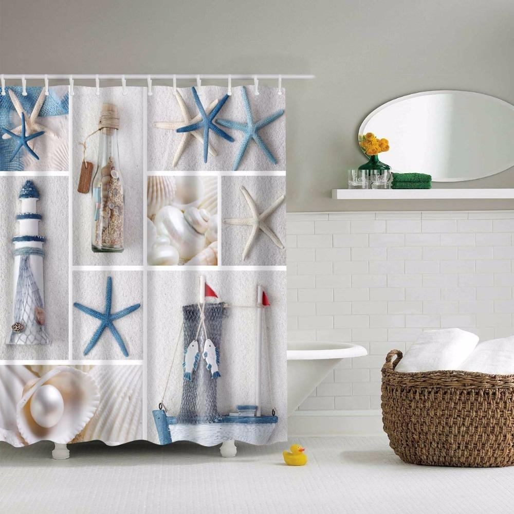 2018 Wholesale Beddingoutlet Sea Shells Starfish Shower Curtain Beach Ocean  Shore Coastal Decor Mediterranean Waterproof 71 X 71 Inch 180cm From  Linita, ...
