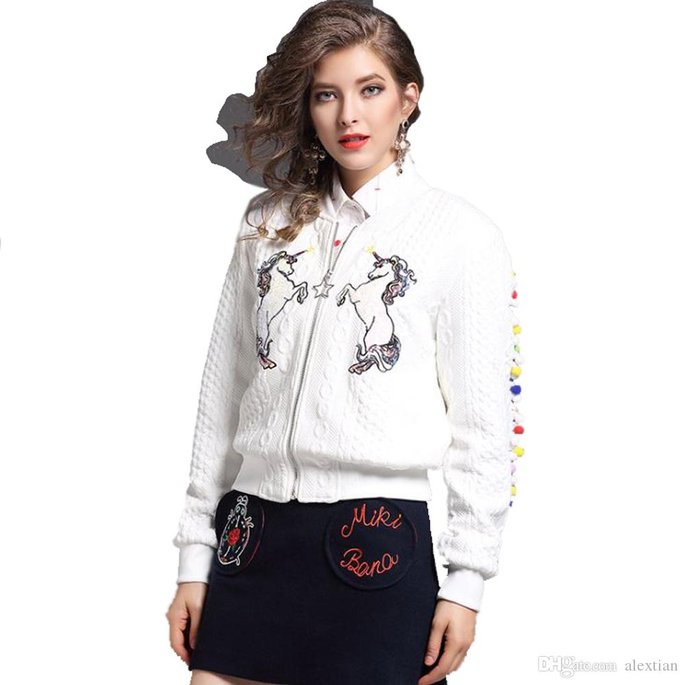 Womens Fashion Sweaters Jackets Authentic Embroidery Unicorn White ...