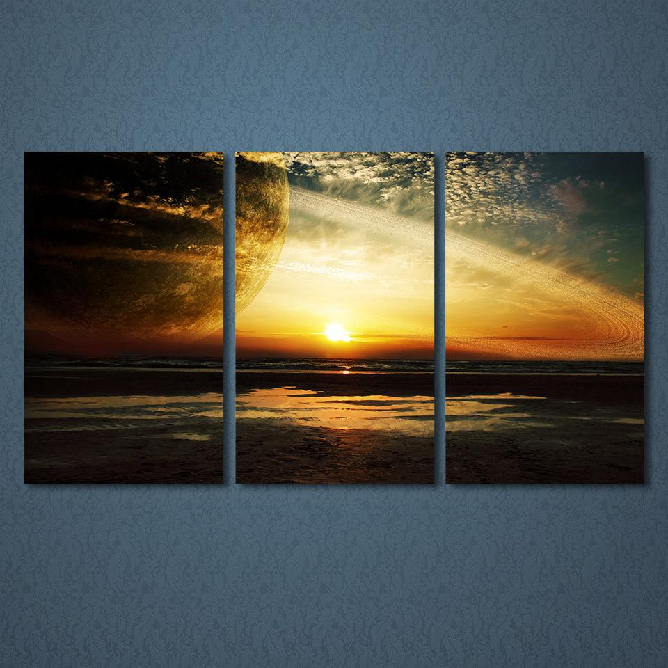 2018 3 Panels Canvas Art Sunset Lights Planet Home Decoration Wall ...