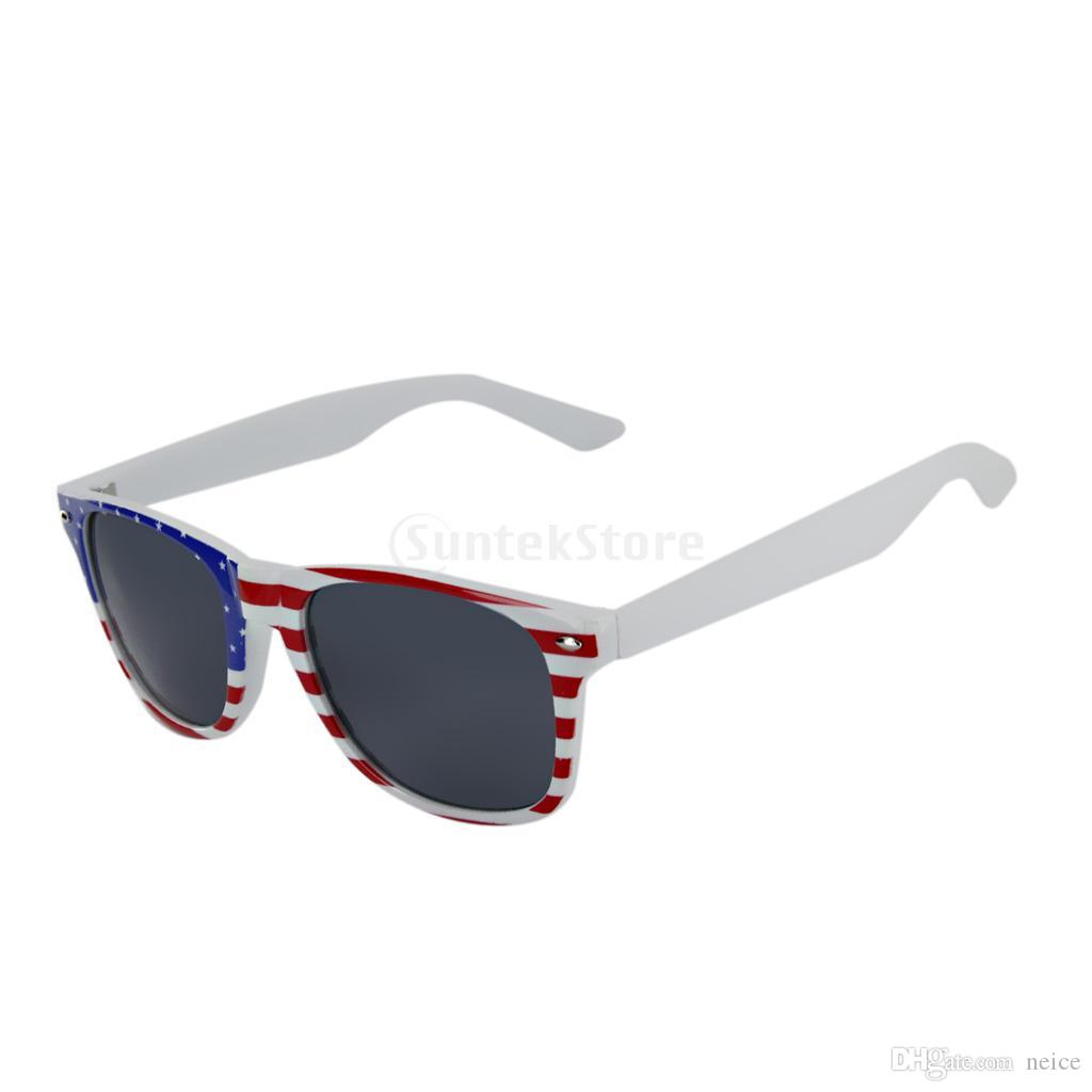 New Arrivals 2017 Usa Us American Flag Sunglasses White Frame Grey ...