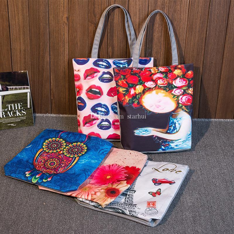 Femmes brodé Floral Sac à main Night Owl Imprimé Sacs à bandoulière Toile Oiseaux Lady Shopping Sac Totes Femme Casual Voyage Plage Sac WX-B25