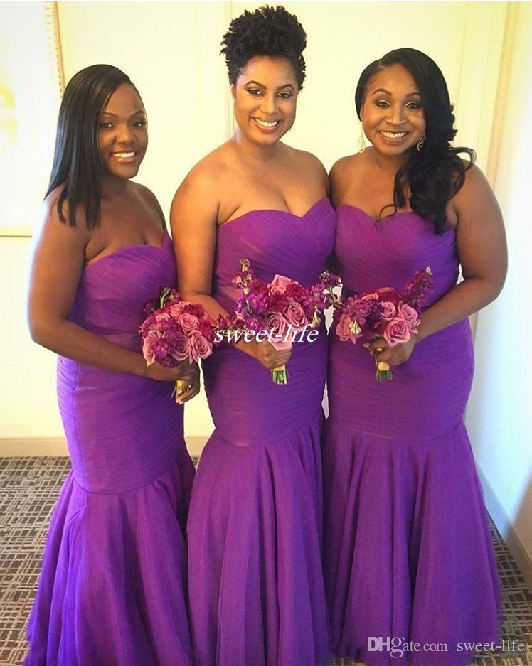 Compre Vestidos De Dama De Honor Púrpura Encantadora Sirena Volantes ...