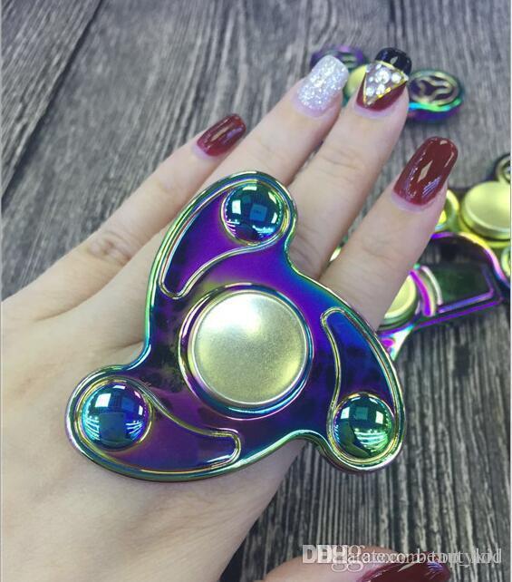 2017 Hand Spinner Rainbow Color Tri Fidget Spinner Focus Hand Toy ...