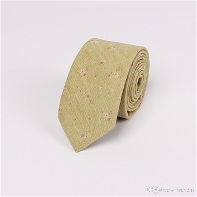 بدلات الزفاف الأزهار القطن الكتان الرقبة التعادل 6.5CM ربطات عنق نحيل الترفيه Gravatas Corbatas العلاقات التجارية للرجال