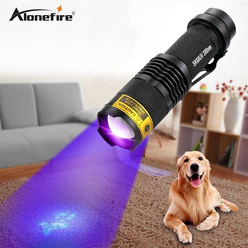 ALONEFIRE SK68uv 395nm mini Zoom UV ultraviolet pour lampe de poche lampe de détecteur