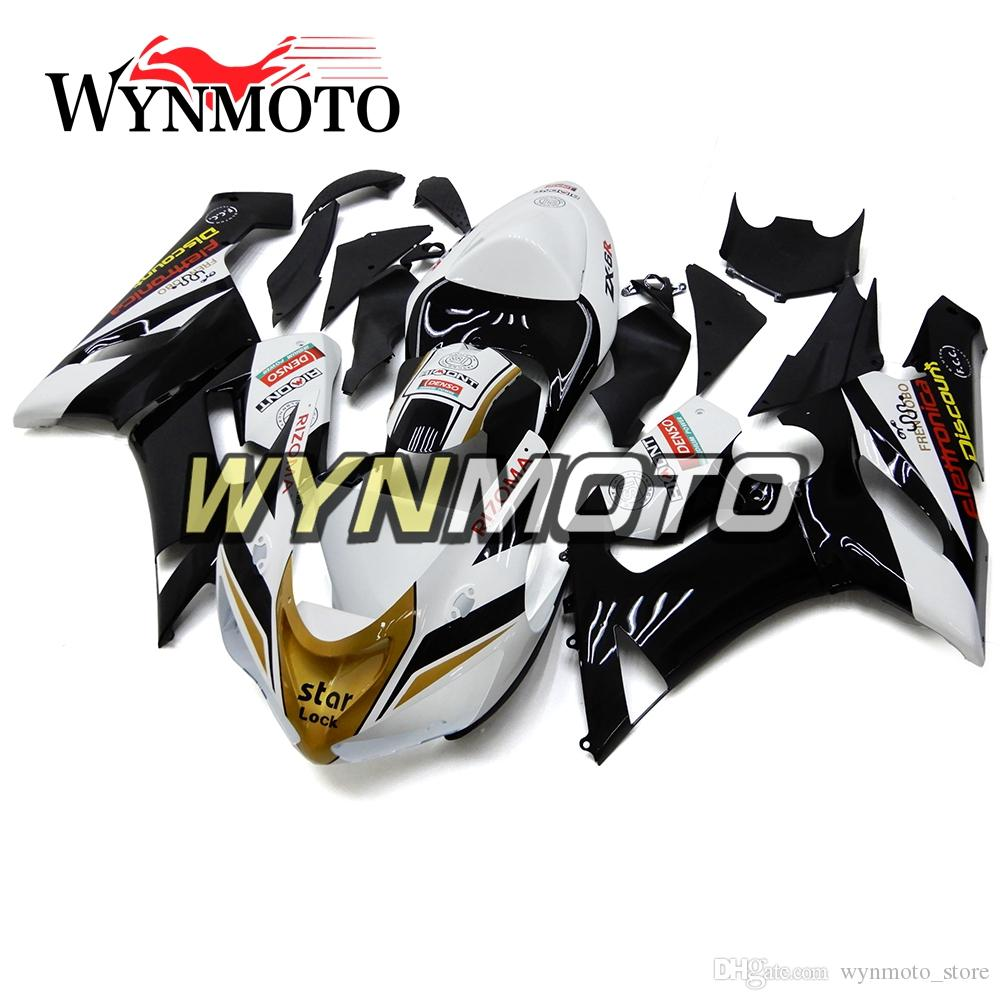 Fairings For Kawasaki ZX-6R 636 2005 2006 05 06 White Black Gold Cover Injection ABS Plastics Hull Covers Motorbike ZX6R Body Kits Motorbike