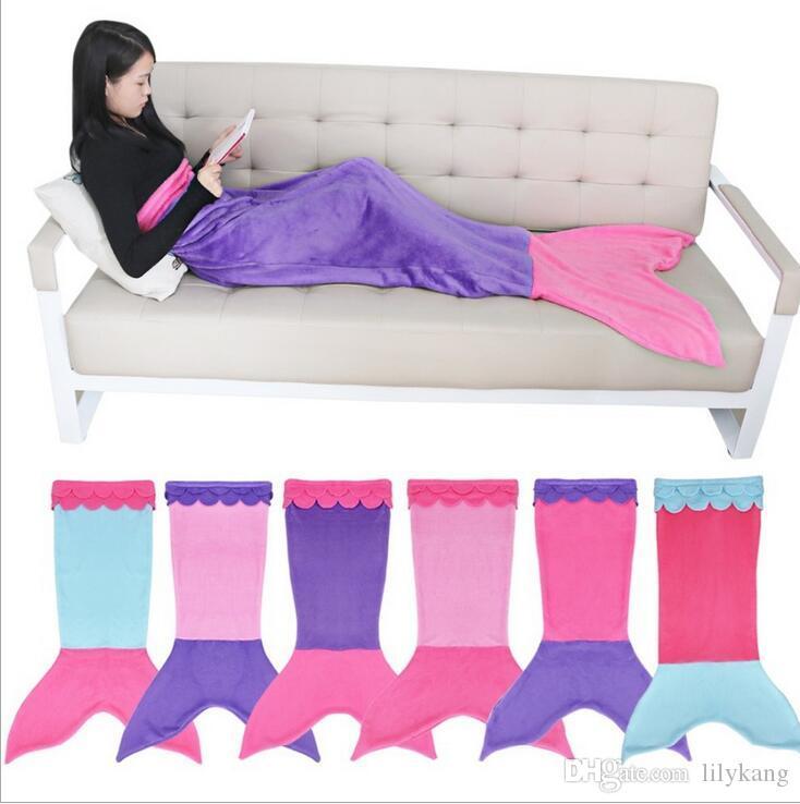 2016 Nouveau Mermaid Tail Wrap requin couvertures Souple Cristal velours Couverture Lit câlin-dans Sleeping Bag Cocoon Costume queue couvertures