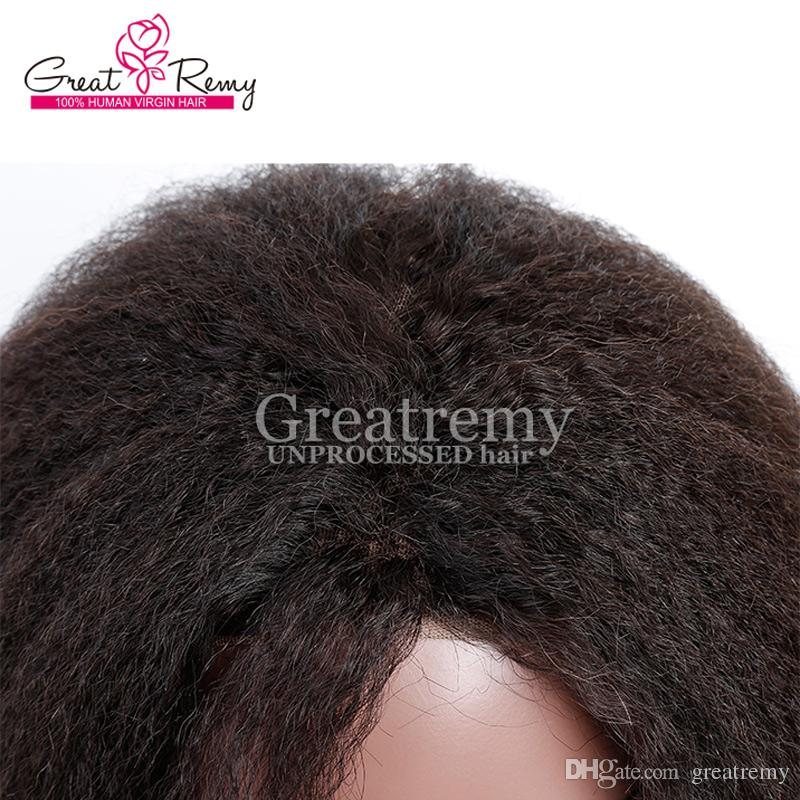 Greatremy® Glueless Full Lace Wigs Malaysian Kinky Straight Human Hair Lace Wig Density 130% To 150% Wigs for Black Women Lasting Long Time