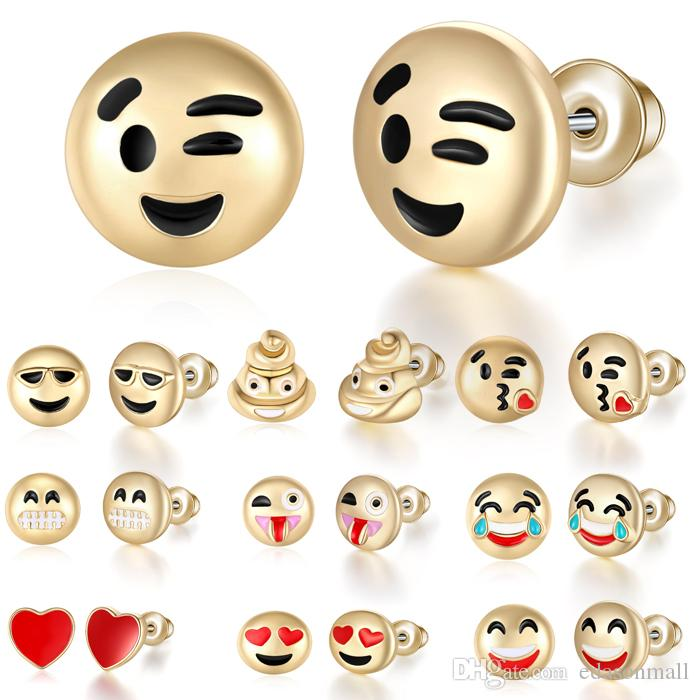 Hot Sale Cute Round Yellow Happy Face Emoji Stud Earrings Funny Smiley  Earring For women Girl Christmas Gift 10 Styles D399Q