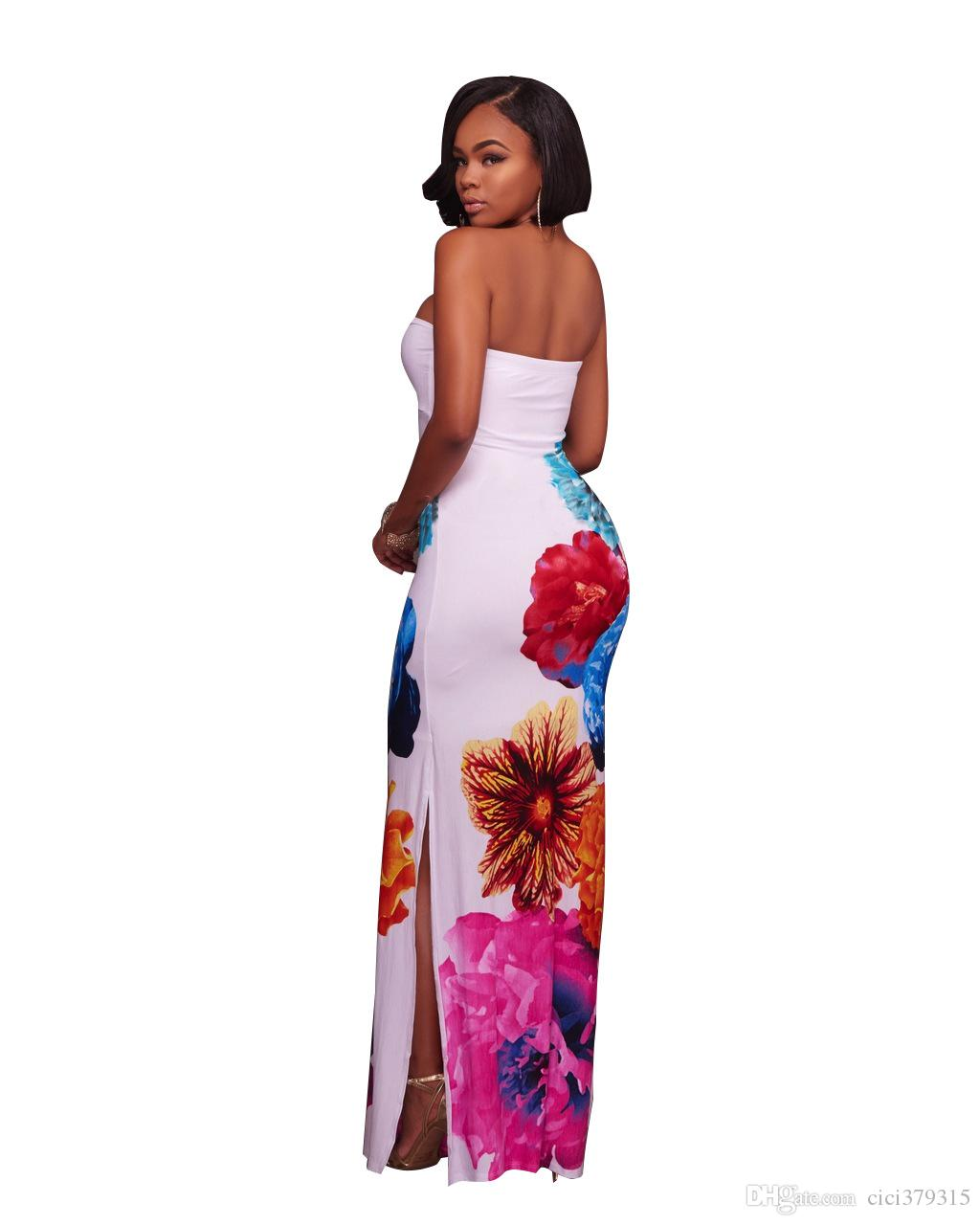 Plus Size Women Sexy Off Shoulder Floral Printed Slim Evening Party Special Occasion Slash Neck Backless Long Maxi Dress