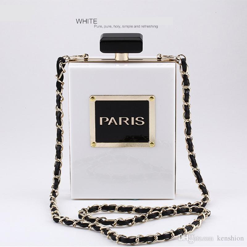 Hot Fashion Brand PARIS Perfume Bag Bottle Shape Handbag Clutch Acrylic Evening Bags Chain Messenger with Shoulder Strap - PZ01
