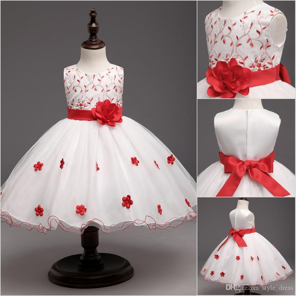 2018 Baby Red Flowers Tutu Dress For Wedding Little Princess ...