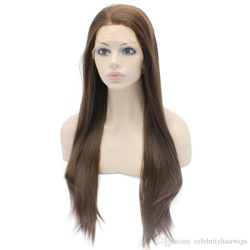 long brown 8#hair straight glueless lace front wig baby hair free part 26inch heat resistant
