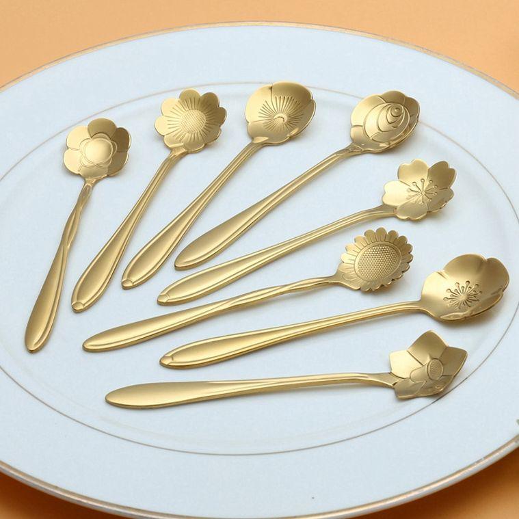 Online Cheap New Arrive Tableware Flower Shape Sugar Stainless Steel Silver Tea Coffee Spoon Teaspoons Ice Cream Flatware Kitchen Coffee Spoon Tool H68 By ... & Online Cheap New Arrive Tableware Flower Shape Sugar Stainless Steel ...