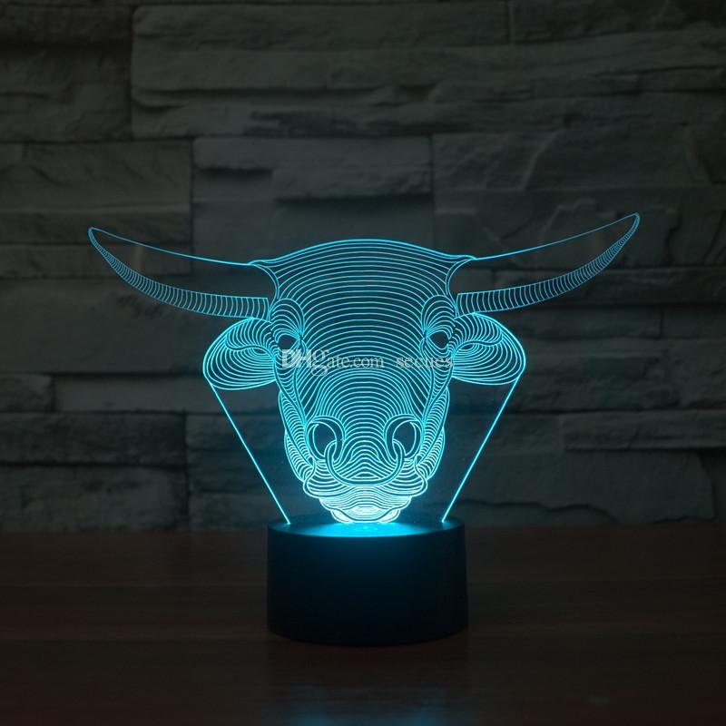 3D Bull Head Night Lamp 3D Optical Lamp Battery DC 5V Wholesale Dropshipping
