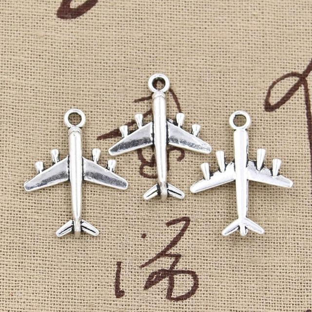 Wholesale 99Cents Charms Airplane Plane 2721mm Antique Making Pendant FitVintage Tibetan SilverDIY Bracelet Necklace Jewelry Patch Carrying Case