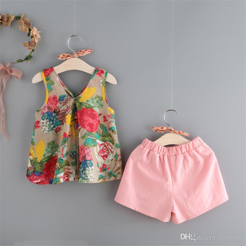 2017 babykleidung mädchen floral tank weste tops + shorts kleidung set mädchen outfits kinder anzug kinder sommer boutique kleidung