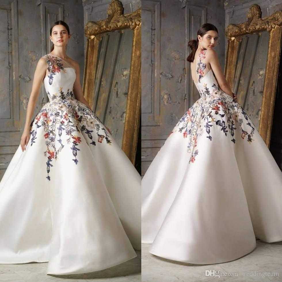 Fabulous Embroidery Ball Gown Prom Dresses One Shoulder Custom Made ...