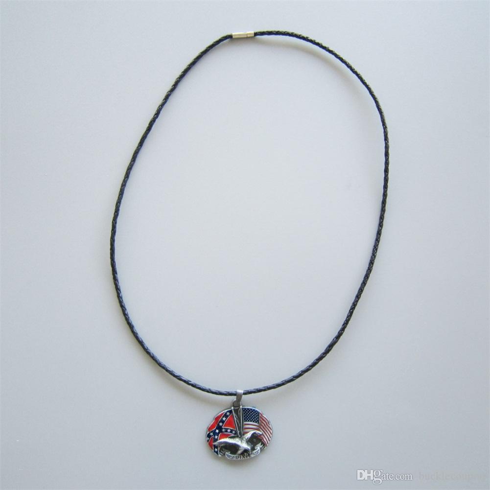 Les hommes en cuir Collier New Vintage Eagle avec croix en métal étoile Charm Drapeau collier pendentif collier en cuir-WT080 Brand New également Stock aux Etats-Unis