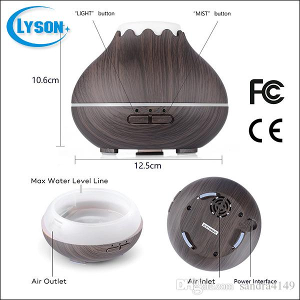 Wood Grain 300ML Capacity LED Color-Changing Lights Mini SPA Essential Oil Diffuser Ultrasonic Aromatic Air Humidifier