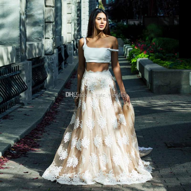 20bef196fbd Two Piece Lace Evening Dresses 2018 Spaghetti Straps Plus Size White Nude  Prom Dresses Formal Evening Dress Saudi Arabic Evening Gowns Maxi Dress  Evening ...