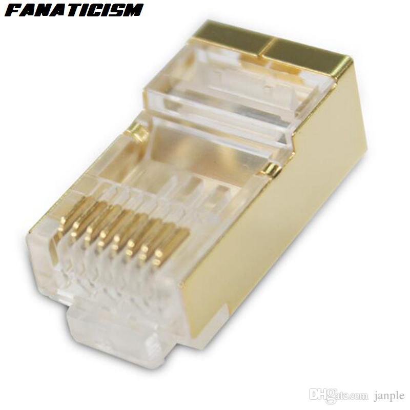 / الكثير أعلى جودة معدن الذهب درع RJ45 8P8C CAT5E وحدات الشبكة التوصيل RJ45 CAT5 إيثرنت LAN كيبل وحدات التوصيل محول موصل