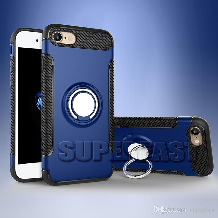 Ring Holder Case Car Phone Kickstand for NEW iPhone XR XS MAX 8 Plus Samsung Note 10 S10 Plus J7 Prime Magnetic Cover