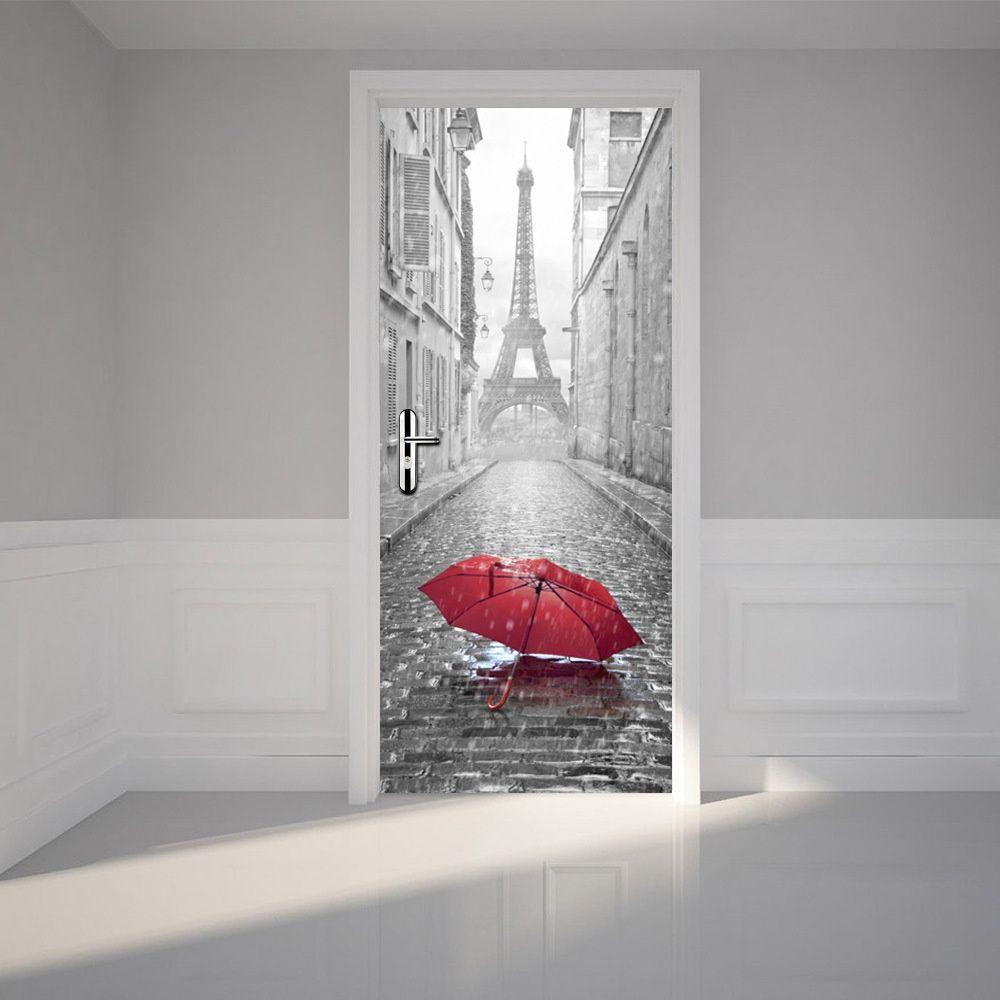 The eiffel tower red umbrella door stickers 3d pvc self for Door mural decals