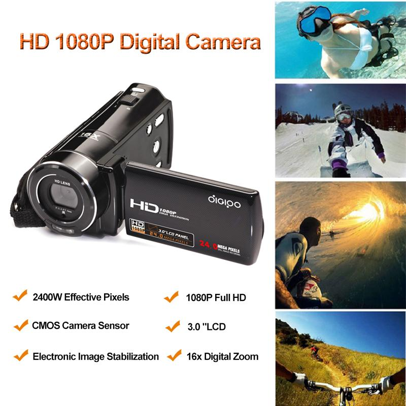 Wholesale-5MP HD 1080P Digital Cameras 3.0 TFT Screen Photo Camera 16x Digital Zoom camcorder Camera Video Recorder Free Shipping AH0010