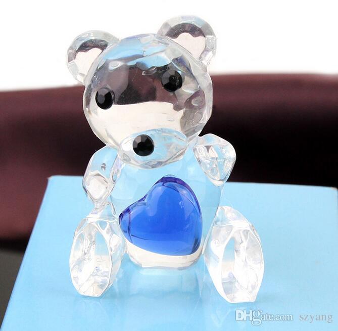 Frete Grátis Favores Do Chuveiro de Bebê Escolha Coleção de Cristal Urso de Pelúcia Estatuetas-Azul Urso De Cristal Para O Casamento favor