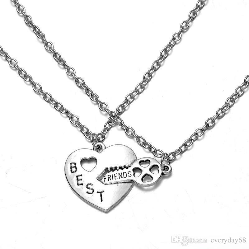 706f9b47a459 Los mejores buddys Love Key My Heart Charms Collares pendientes Puzzle  Collares de pareja Mejores amigos Collar Joyas colgante de pareja para San  Valentín