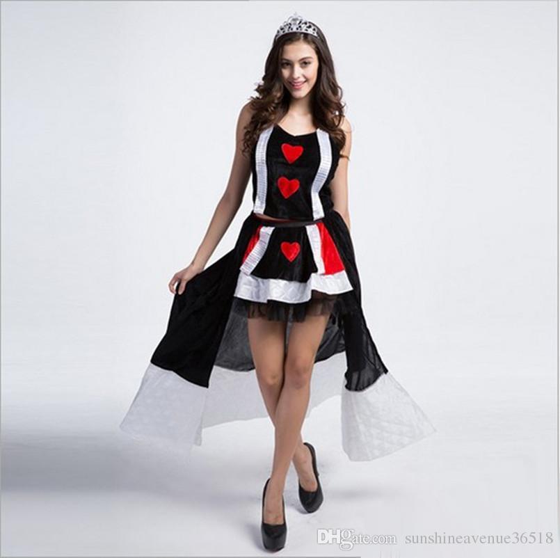 / neue Ankunft Luxus die Königin der Herzen Kostüm mit Krone sexy Cosplay Halloween Uniform Versuchung Bühne Leistung Kleidung