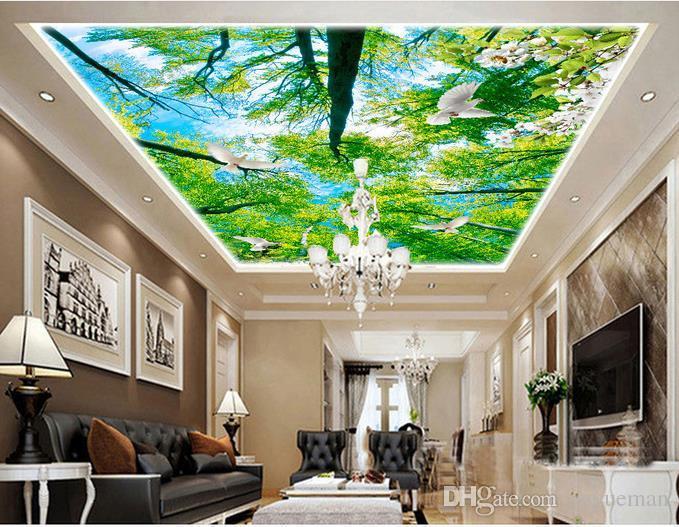 Personalizado 3d sala de estar do teto papel de parede Florescendo flores céu teto papéis de parede 3d para o teto da parede