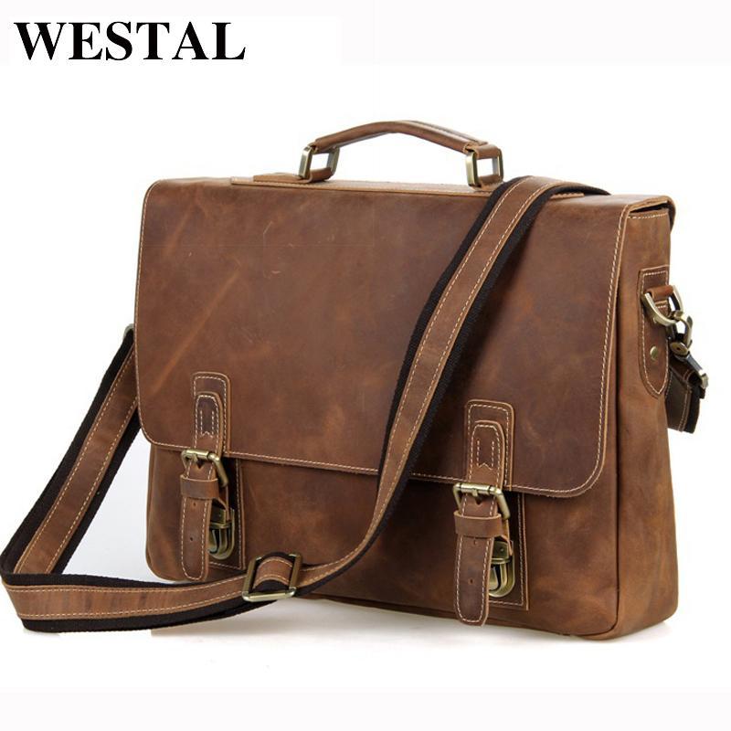 6b37181a6afe Wholesale WESTAL Crazy Horse Genuine Leather Men Bag Men Briefcase Men S  Leather Laptop Bag 14 Hasp Casual Handbag Single Shoulder Bags Leather  Satchel For ...