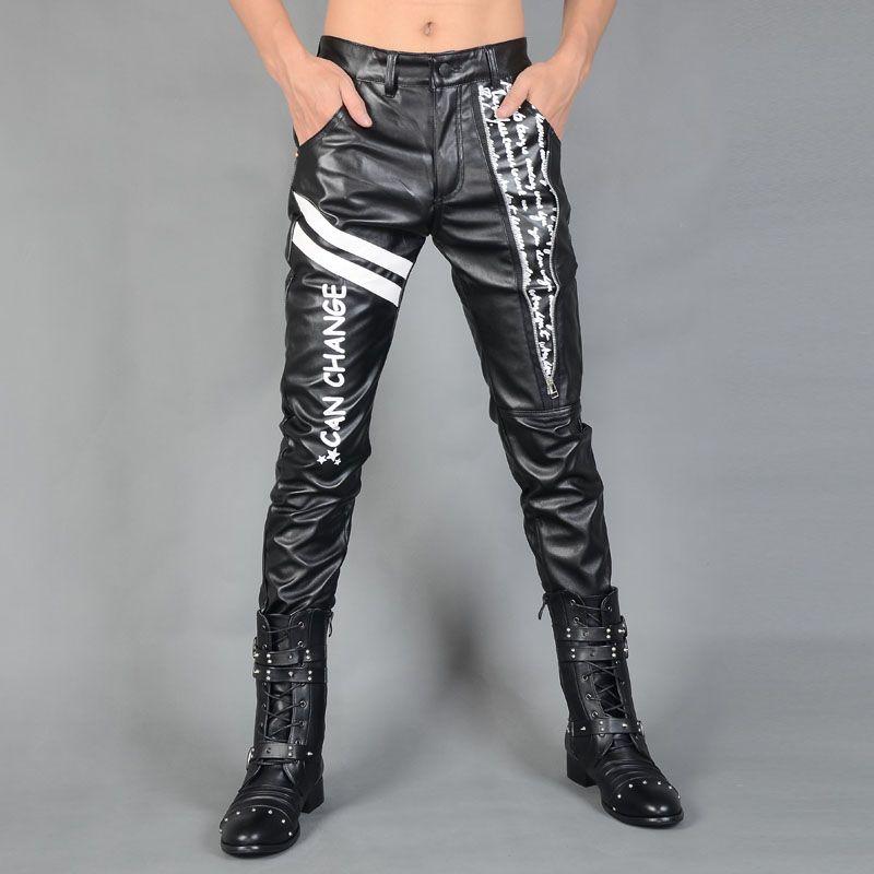 Homme coréen velours épaississement mince mode pantalon hiver haute qualité mince pantalon spécial hommes montrent pour chanteur danseur stade discothèque pantalon