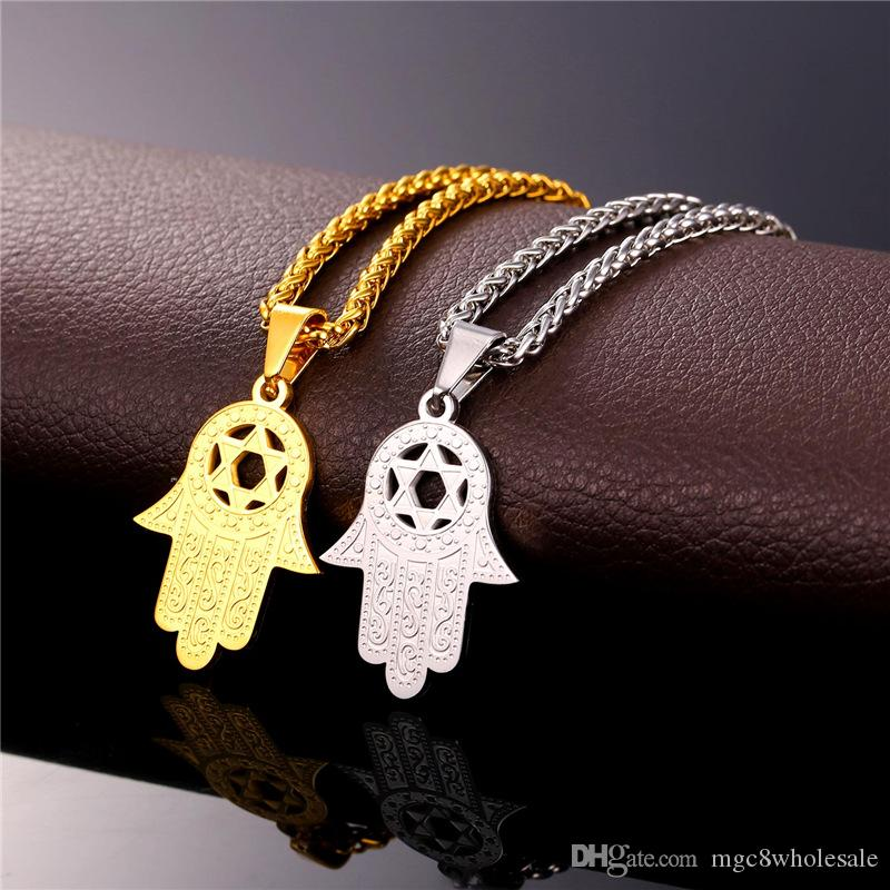 U7 Star of David in Hamsa Hand Lucky Pendant Necklace Stainless Steel 18K Real Gold Plated Fashion Unisex Jewelry Perfect Gift Accessories
