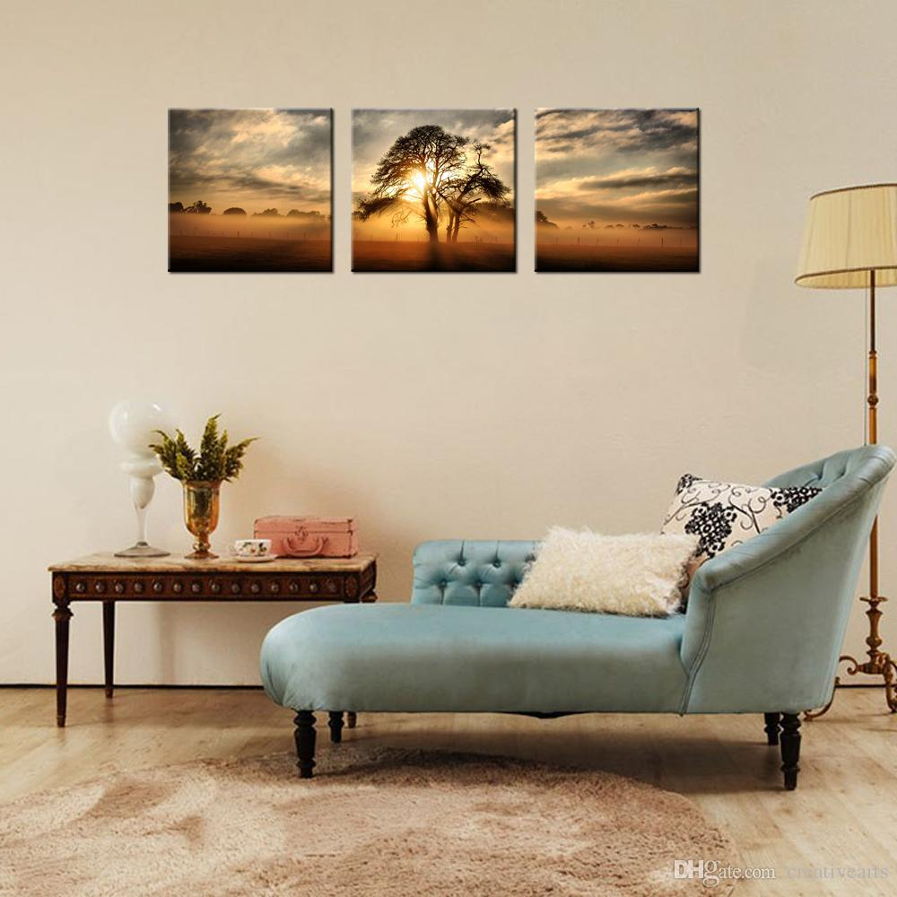 Nature Scenery Canvas Wall Art Modern Giclee Print for Home and Office Decoration Wholesale 3 Panels
